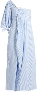 DAY Birger et Mikkelsen TEIJA One-shoulder striped cotton-poplin midi dress