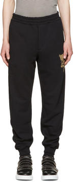 Alexander McQueen Black Beaded Floral Classic Lounge Pants