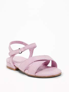 Old Navy Sueded Cross-Strap Sandals for Toddler Girls