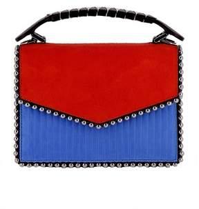 Les Petits Joueurs Women's Blue/red Suede Shoulder Bag.