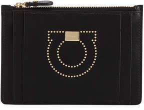 Salvatore Ferragamo Gancio Studded Small Zip Wallet