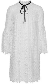 Temperley London Eclipse Velvet-Trimmed Pleated Corded Lace Mini Dress