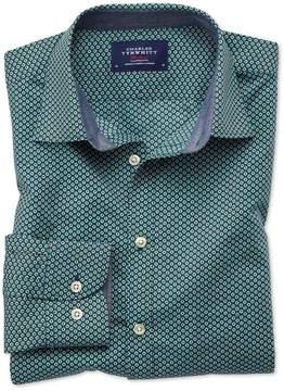 Charles Tyrwhitt Slim Fit Dark Green Spot Print Cotton Casual Shirt Single Cuff Size XS