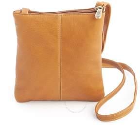 Royce Leather Royce Tan Colombian Leather Double Zip Crossbody Bag
