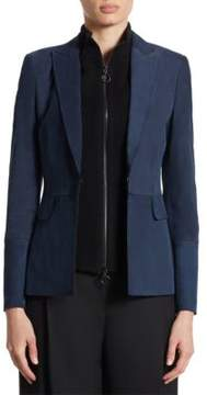 Akris Punto Removable Knit Insert Suede Jacket