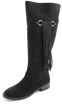 INC International Concepts Fayer Wide Calf Women Round Toe Suede Black.