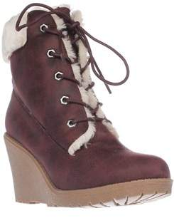 DOLCE by Mojo Moxy Fresco Wedge Ankle Boot Booties, Burgandy.