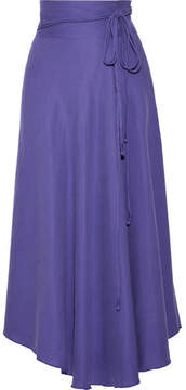 Apiece Apart Rosehip Tencel And Linen-blend Wrap Midi Skirt - Purple