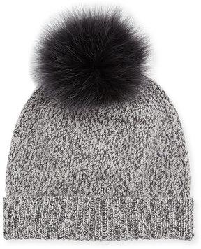Sofia Cashmere Marbled-Knit Beanie Hat w/ Fur Pompom