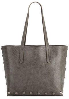 Neiman Marcus Pebbled Stud-Trim Tote Bag