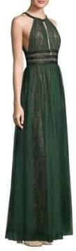BCBGMAXAZRIA Cutout Neck Lace Floor-Length Gown