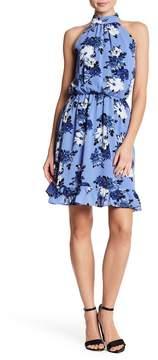 Bebe Mock Neck Floral Print Dress