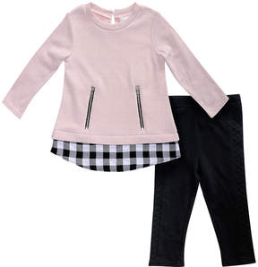 Sweet Heart Rose Pink Zipper-Accent Top & Black Leggings - Toddler & Girls