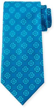 Charvet Medallion-Print Silk Tie, Light Blue