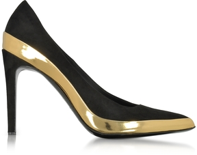 Balmain Sasha Black Suede and Gold Metallic Leather High Heel Pump