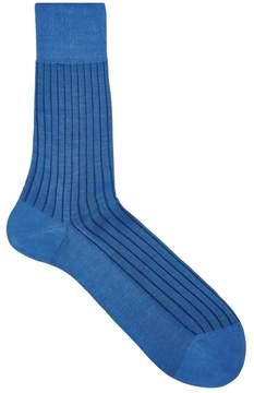 Falke Shadow Blue Ribbed Cotton Socks