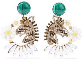 Elizabeth Cole Gold-Tone Resin Crystal And Stone Earrings