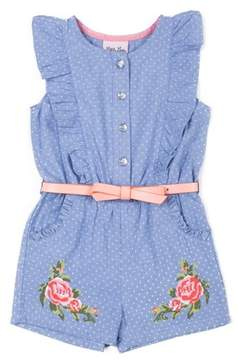 Little Lass Ruffle Front Chambray Romper