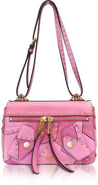 Moschino Pink Leather Shoulder Bag w/Golden Studs