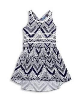 Truly Me Girl's Printed Crisscross-Back Dress