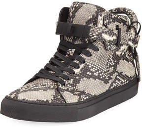 Buscemi 100mm Exotic Python-Embossed Leather Mid-Top Sneaker