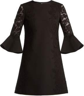 Valentino Bell-sleeve wool-blend dress