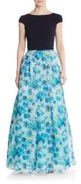 Theia Blocked Floral A-Line Gown