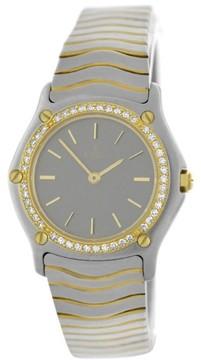 Ebel 181930 Wave Diamond Bezel Stainless Steel 18K Gold Quartz Womens Watch