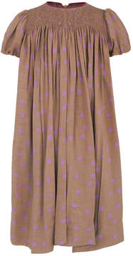 La Stupenderia Latte and Purple Polka Dot Dress