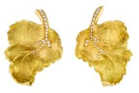 18K Diamond Curled Leaf Clip-On Earrings