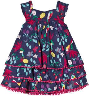 Catimini Navy Floral and Tropical Birds Print Dress with Pom Pom Detail