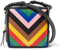 Sara Battaglia Cube Striped Textured-leather Shoulder Bag - Black