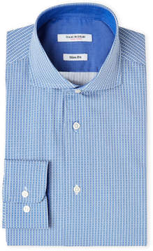 Isaac Mizrahi Blue & White Neat-Print Slim Fit Dress Shirt