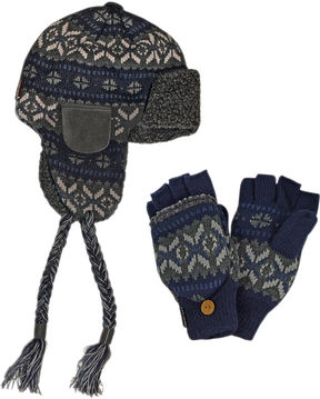 Muk Luks 2-pc. Fair Isle Trapper Hat and Flip Gloves Set