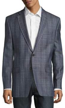 Lauren Ralph Lauren Plaid Wool, Silk & Linen-Blend Two-Button Jacket