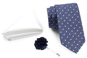 Ben Sherman Dot Tie, Solid Pocket Square, & Lapel Pin Box Set