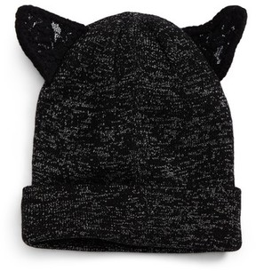 David & Young Women's Lace Cat Ear Beanie - Black