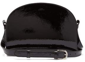 A.P.C. Half Moon Crinkled Patent Leather Cross Body Bag - Womens - Black
