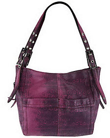 B. Makowsky Leather Snap Top Shopper with Adjustable Shoulder Straps