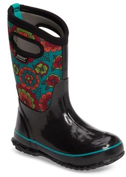 Bogs Toddler Girl's Classic Pansies Insulated Waterproof Rain Boot