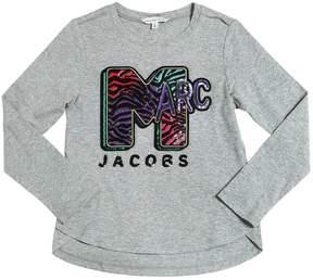 Little Marc Jacobs Sequins Marc Cotton Jersey T-Shirt