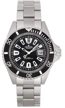 Croton Men's All Stainless Black Dial Quartz Watch with Black Rotating Bezel & Magnified Date