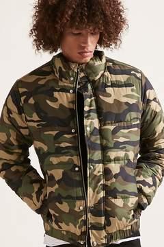 21men 21 MEN Camo Print Puffer Jacket