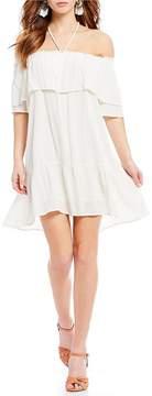 Chelsea & Violet C&V Off-the-Shoulder Lurex Stripe Dress