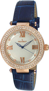 Peugeot Womens Rose Gold Tone And Blue T-Bar Leather Strap Watch 3046BL