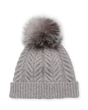 Sofia Cashmere Staghorn Cable Knit Hat w/ Fur Pompom, Gray