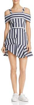 Finders Keepers Long Shot Striped Cold-Shoulder Mini Dress