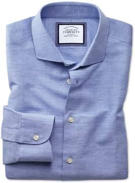 Charles Tyrwhitt Slim Fit Spread Collar Business Casual Linen Cotton Blue Cotton Linen Mix Dress Shirt Single Cuff Size 15/33