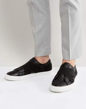 Asos Sneakers In Black With Elastic Straps