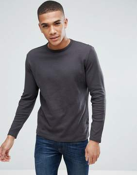 New Look Long Sleeve Waffle Knit Top In Dark Gray